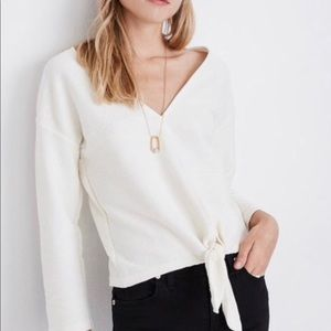 Madewell v-neck white ivory crop tie top blouse XS